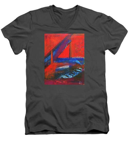 Piano In The Red Room Men's V-Neck T-Shirt by Walter Fahmy