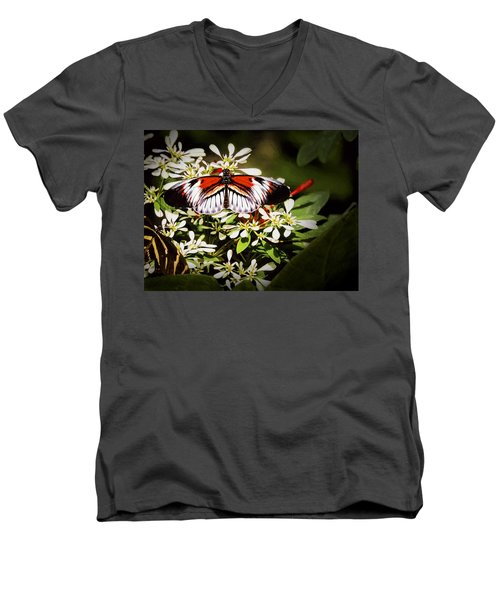 Men's V-Neck T-Shirt featuring the photograph Piano Key 3 by Penny Lisowski