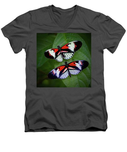 Piano Key Butterfly's Men's V-Neck T-Shirt