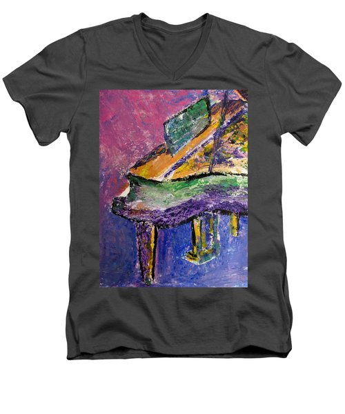 Piano Purple - Cropped Men's V-Neck T-Shirt