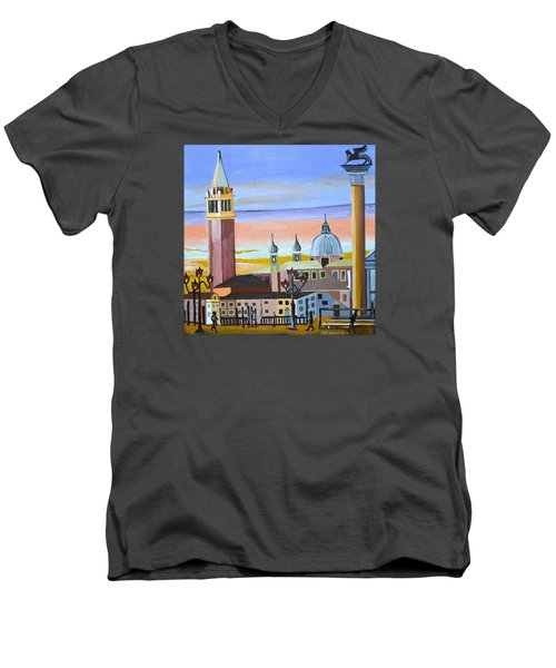 Piazza San Marco Men's V-Neck T-Shirt by Donna Blossom