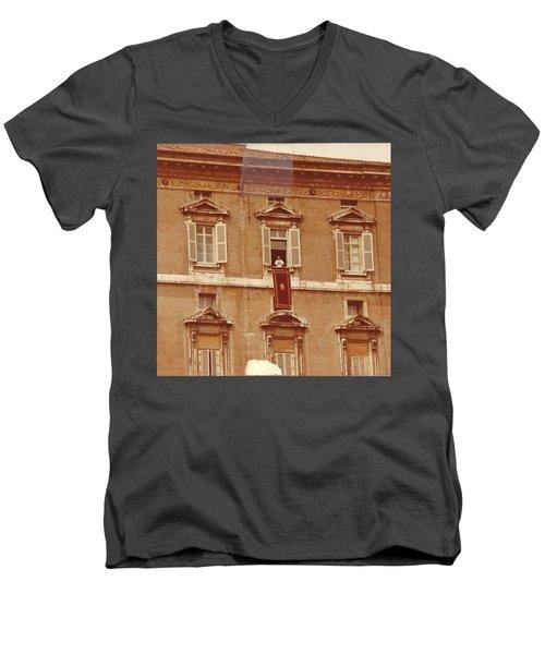 Piazza San Pietro-popes Window Men's V-Neck T-Shirt by Jay Milo