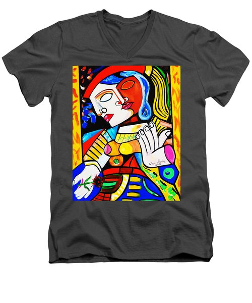 Picasso By Nora Turkish Man Men's V-Neck T-Shirt by Nora Shepley