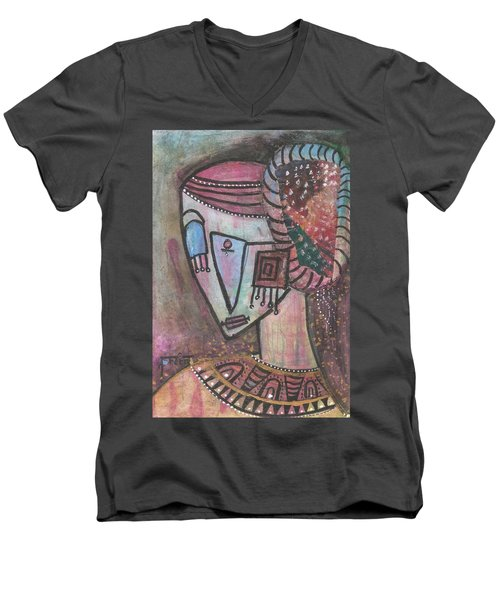 Men's V-Neck T-Shirt featuring the mixed media Picasso Inspired by Prerna Poojara
