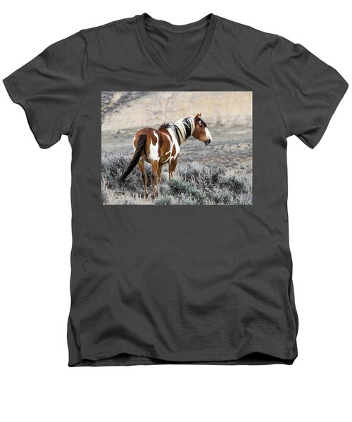 Picasso - Wild Mustang Stallion Of Sand Wash Basin Men's V-Neck T-Shirt by Nadja Rider