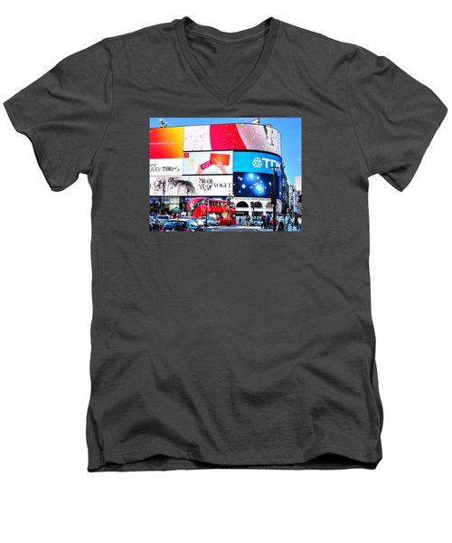 Men's V-Neck T-Shirt featuring the photograph Piccadilly Magic by Andreas Thust