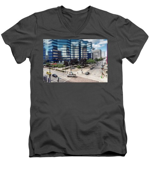 Pick-up Truck In The Itty-bitty-city Men's V-Neck T-Shirt