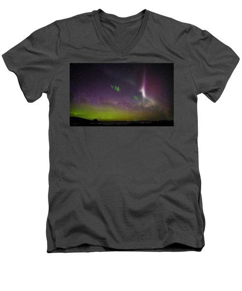 Men's V-Neck T-Shirt featuring the photograph Picket Fences And Proton Arc, Aurora Australis by Odille Esmonde-Morgan
