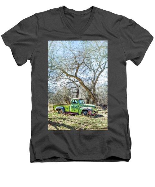 Pickup Under A Tree Men's V-Neck T-Shirt by Robert FERD Frank
