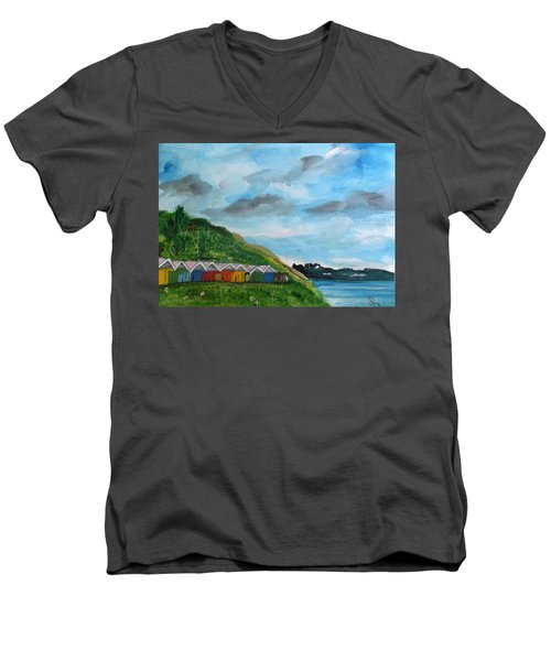 Picture Postcard View Of Scarborough Men's V-Neck T-Shirt by Carole Robins