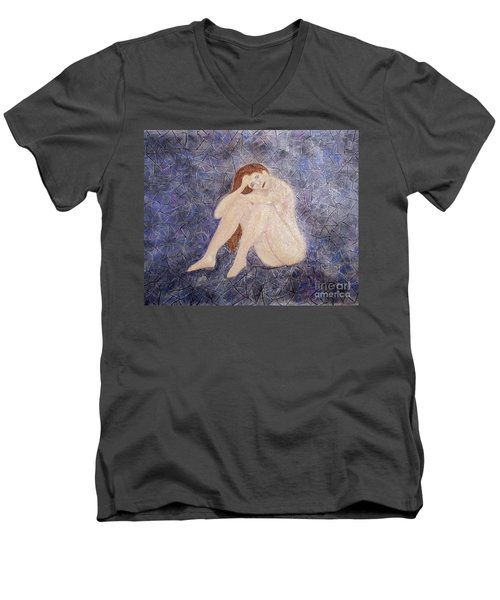 Men's V-Neck T-Shirt featuring the painting Pieces Of Me by Desiree Paquette