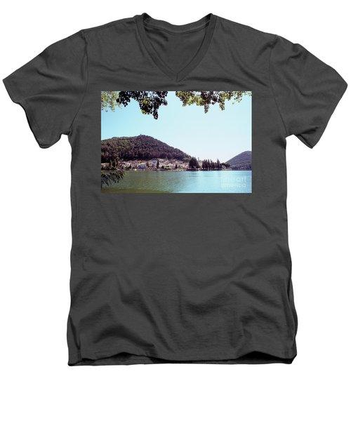 Piediluco And Piediluco Lake Men's V-Neck T-Shirt by Fabrizio Ruggeri