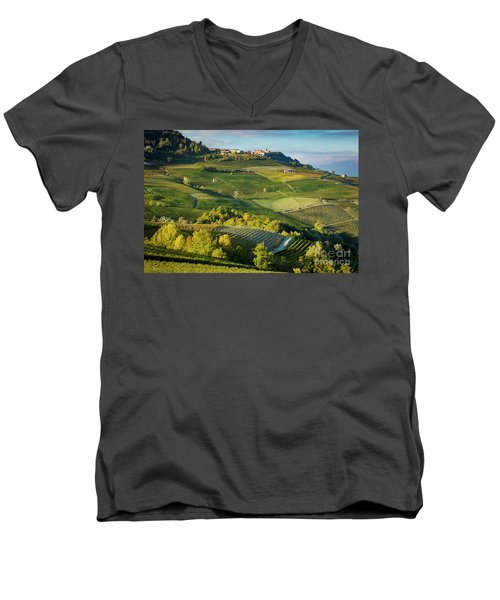 Men's V-Neck T-Shirt featuring the photograph Piemonte Countryside by Brian Jannsen