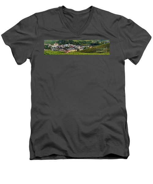 Men's V-Neck T-Shirt featuring the photograph Piemonte Panoramic by Brian Jannsen
