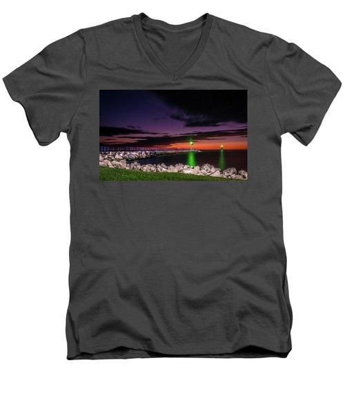 Pier And Lighthouse Men's V-Neck T-Shirt