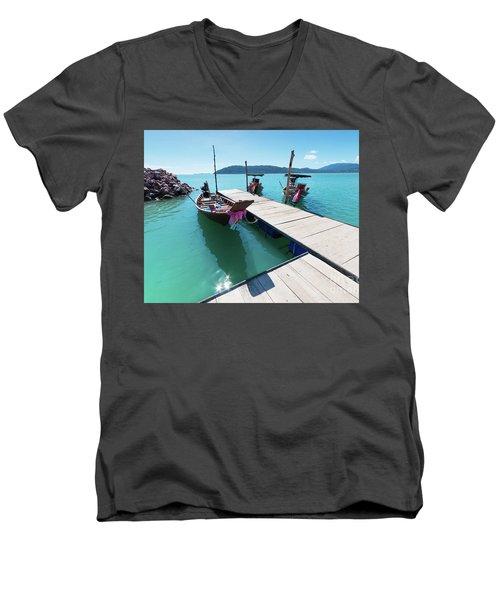 Men's V-Neck T-Shirt featuring the photograph Pier At Khanom by Atiketta Sangasaeng