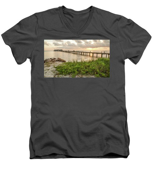Pier At Sunrise Men's V-Neck T-Shirt