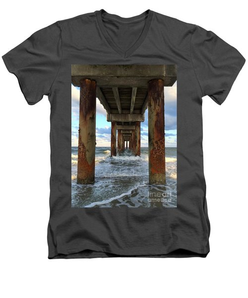 Pier In Strength And Peaceful Serenity Men's V-Neck T-Shirt by Cindy Croal