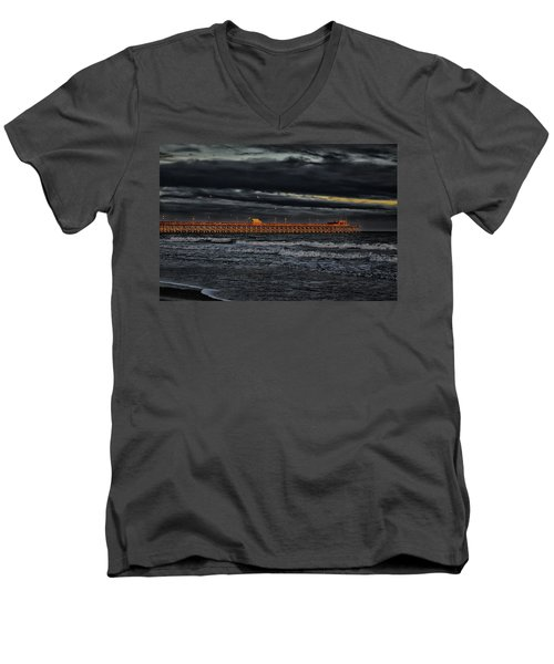 Men's V-Neck T-Shirt featuring the photograph Pier Into Darkness by Kelly Reber