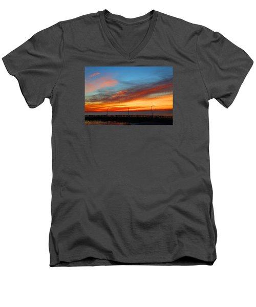Men's V-Neck T-Shirt featuring the photograph Pier Sunrise by Michael Rucker