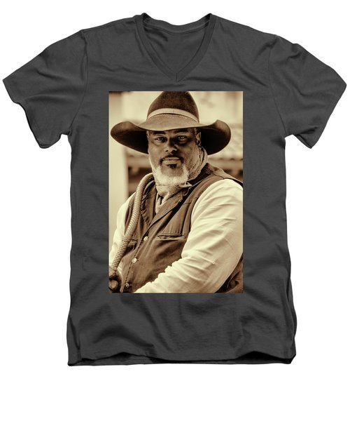 Piercing Eyes Of The Cowboy Men's V-Neck T-Shirt