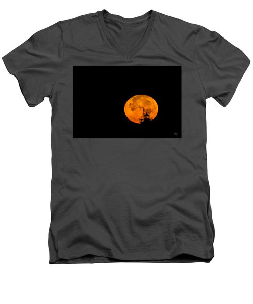 Men's V-Neck T-Shirt featuring the photograph Pierhead Supermoon Silhouette by Everet Regal