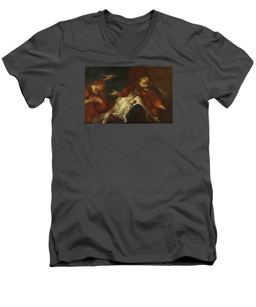 Men's V-Neck T-Shirt featuring the painting Pieta With Mary Magdalene by Giuseppe Bazzani