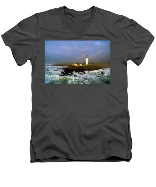 Men's V-Neck T-Shirt featuring the photograph Pigeon Point Lighthouse by Evgeny Vasenev
