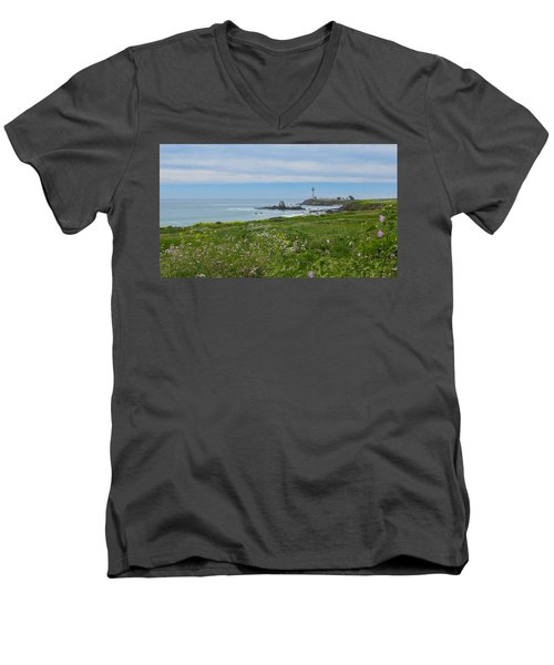 Pigeon Point Lighthouse Men's V-Neck T-Shirt by Mark Barclay
