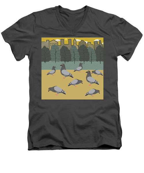 Pigeons Day Out Men's V-Neck T-Shirt by Nicole Wilson