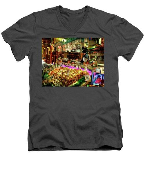 Pike Market Fresh Fish Men's V-Neck T-Shirt by Greg Sigrist