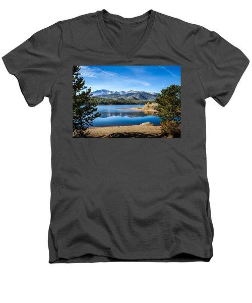 Pikes Peak Over Crystal Lake Men's V-Neck T-Shirt
