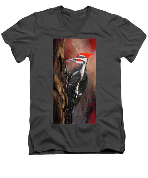 Pileated Woodpecker Art Men's V-Neck T-Shirt