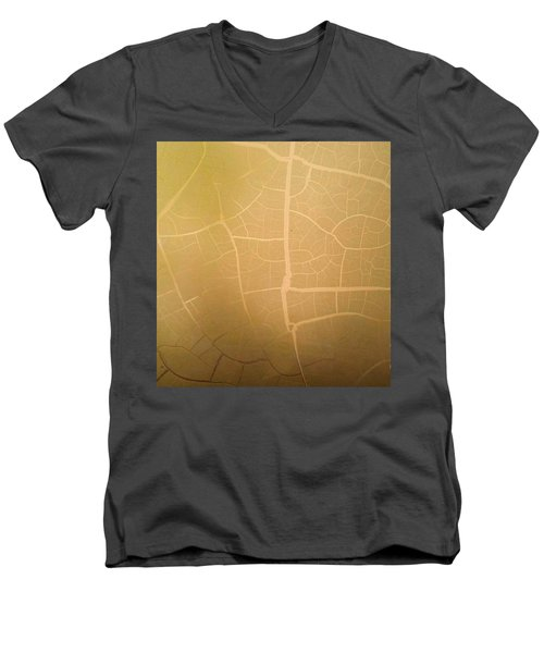 Men's V-Neck T-Shirt featuring the photograph Pillow Pattern Amber Leaf/crackle by Steed Edwards