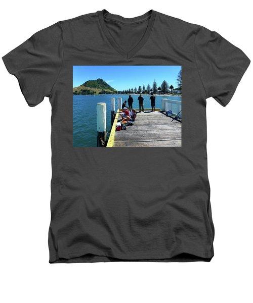 Pilot Bay Beach 7 - Mt Maunganui Tauranga New Zealand Men's V-Neck T-Shirt
