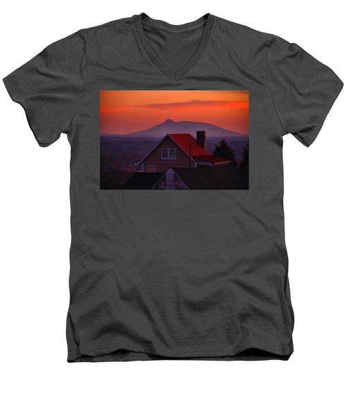Pilot Sunset Overlook Men's V-Neck T-Shirt by Kathryn Meyer