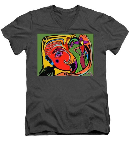 Pinching The Bird Men's V-Neck T-Shirt by Hans Magden
