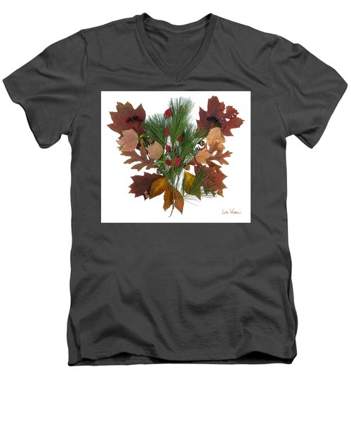 Pine And Leaf Bouquet Men's V-Neck T-Shirt by Lise Winne