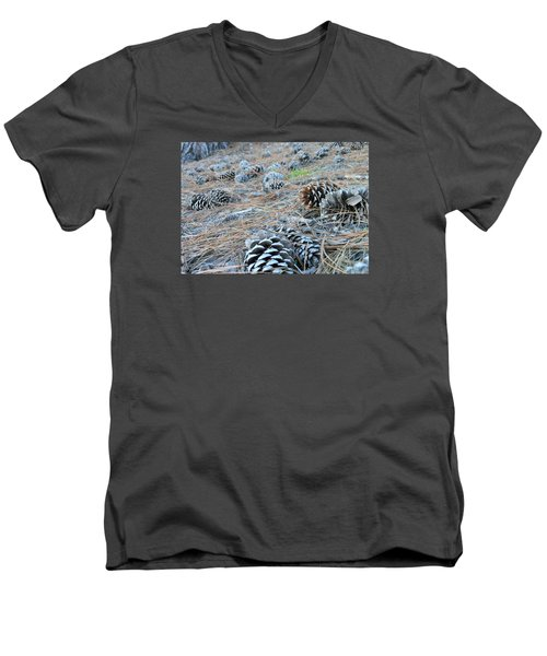 Men's V-Neck T-Shirt featuring the photograph Pine Cones by Kay Gilley