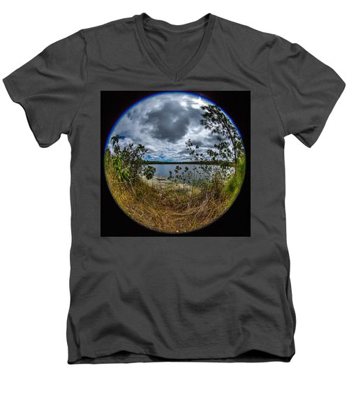 Pine Glades Lake 18 Men's V-Neck T-Shirt by Michael Fryd
