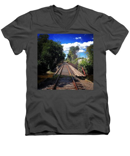 Pine River Railroad Bridge Men's V-Neck T-Shirt