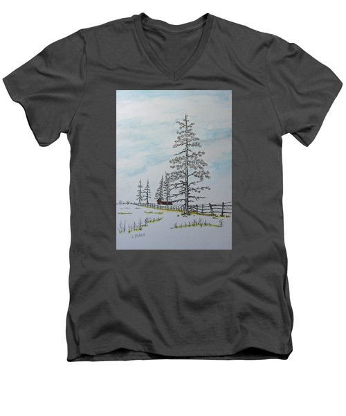 Men's V-Neck T-Shirt featuring the painting Pine Tree Gate by Jack G  Brauer