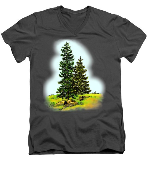 Pine Tree Nature Watercolor Ink Image 2         Men's V-Neck T-Shirt