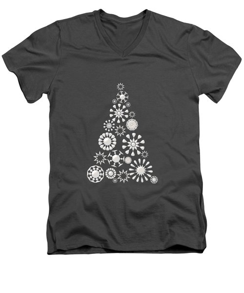 Pine Tree Snowflakes - Dark Blue Men's V-Neck T-Shirt