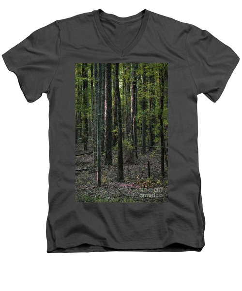 Men's V-Neck T-Shirt featuring the photograph Pine Wood Sunrise by Skip Willits