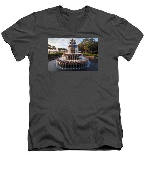 Pineapple Fountain Charleston Sunrise Men's V-Neck T-Shirt by John McGraw
