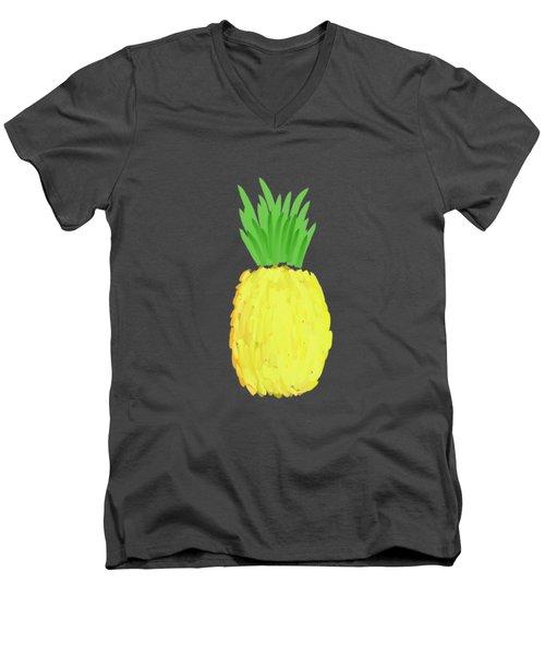 Pineapple Men's V-Neck T-Shirt by Priscilla Wolfe