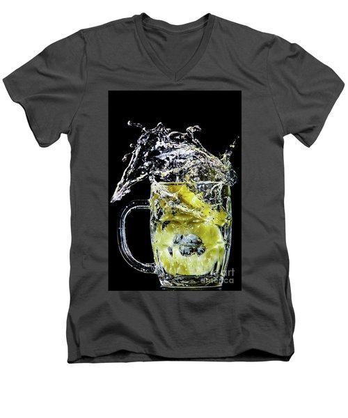Men's V-Neck T-Shirt featuring the photograph Pineapple Splash by Ray Shiu