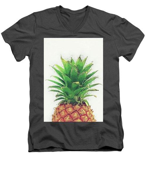 Men's V-Neck T-Shirt featuring the digital art Pineapple by Taylan Apukovska