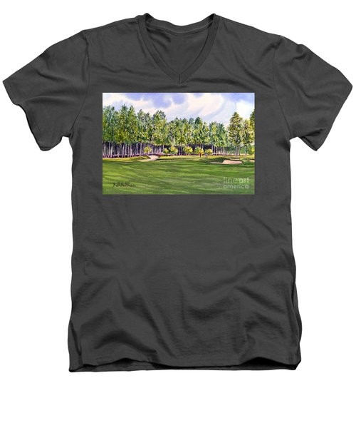 Men's V-Neck T-Shirt featuring the painting Pinehurst Golf Course 17th Hole by Bill Holkham